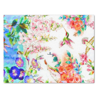 Hummingbirds and Flowers Landscape Tissue Paper