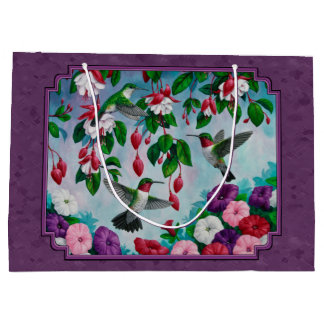 Hummingbirds and Flowers Purple Large Gift Bag