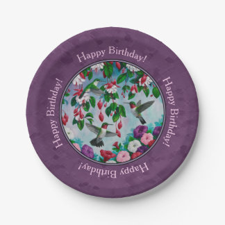Hummingbirds and Flowers Purple Paper Plate