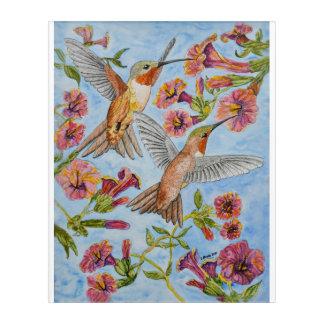Hummingbirds and Hibiscus Acrylic Wall Art