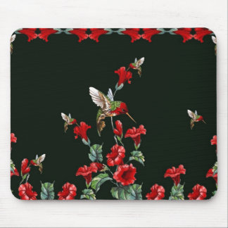 Hummingbirds and Roses Mouse Pad
