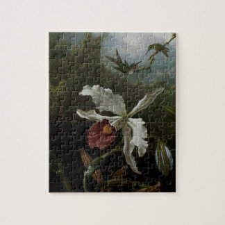 Hummingbirds and White Orchid by Martin J. Heade Jigsaw Puzzle