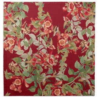 Hummingbirds Audubon Flower Floral Cloth Napkin