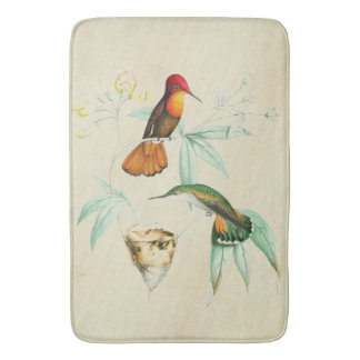 Hummingbirds Birds Animals Flowers Bath Mat