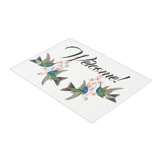 Hummingbirds Birds Animals Flowers Welcome Doormat