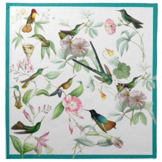 Hummingbirds Birds Flowers Floral Animals Wildlife Cloth Napkins