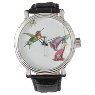 Hummingbirds Birds Flowers Floral Animals Wildlife Wristwatch