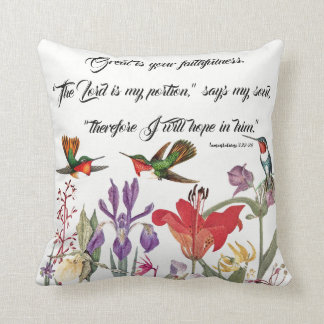 Hummingbirds Birds Flowers Gods Faith Throw Pillow
