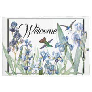Hummingbirds Birds Iris Flower Welcome Doormat