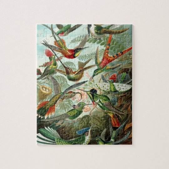 Hummingbirds by Ernst Haeckel, Vintage Birds Trees Jigsaw Puzzle