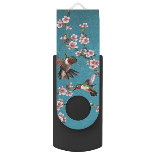 Hummingbirds & Cherry Blossoms Swivel USB 2.0 Flash Drive