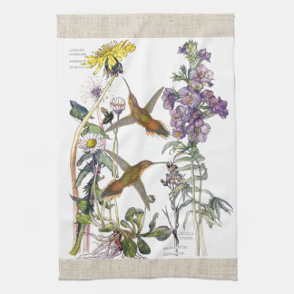 Hummingbirds Daisies Flowers Kitchen Towels