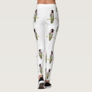 Hummingbirds Fashion Leggings-White/Pink/Green Leggings
