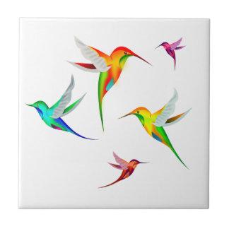 Hummingbirds Flock Cute - Colorful Bird Watching Tile