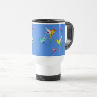 HUMMINGBIRDS FLOCK FLYING - TINY SMALL COLOR BIRDS TRAVEL MUG