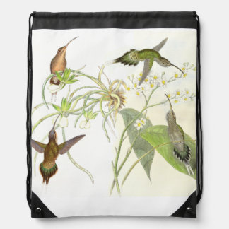 Hummingbirds Floral Flower Birds Wildlife Backpack
