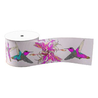 Hummingbirds Floral Pink Flowers Grosgrain Ribbon