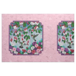 Hummingbirds Flower Garden Pink Pillow Size Fabric