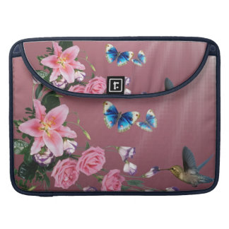 Hummingbirds Flowers Butterflies Macbook Sleeve