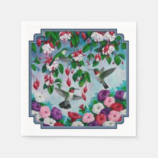 Hummingbirds in Fuchsia Flower Garden Disposable Napkins