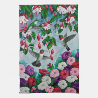 Hummingbirds in Fuchsia Flower Garden Kitchen Towel