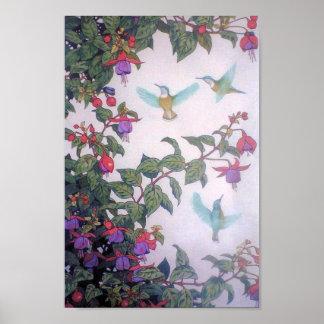 Hummingbirds in Spring Poster