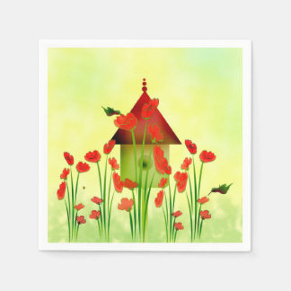 Hummingbirds in the Poppies Paper Napkins
