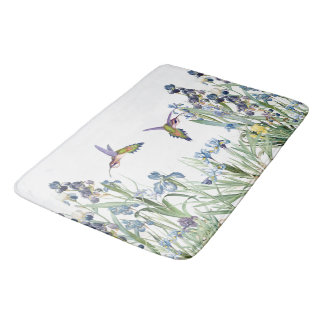 Hummingbirds & Iris Floral Flowers Garden Bath Mat