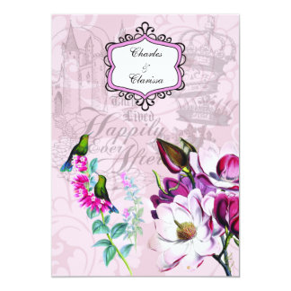 Hummingbirds Magnolias 5x7 Wedding Invitation