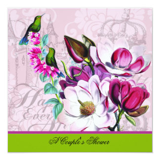 Hummingbirds Magnolias Couple's Shower Invitation