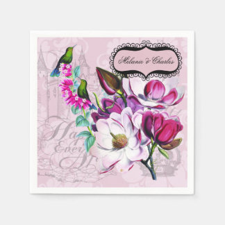 Hummingbirds Magnolias Wedding Paper Napkins
