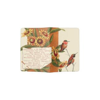Hummingbirds Marigold Flowers Bermuda Floral Poem Passport Holder