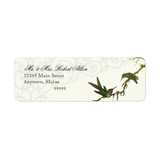Hummingbirds n Swirls Grey - Return Address Labels