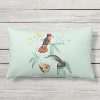 Hummingbirds Nesting Natural Outdoor Pillow 16x16