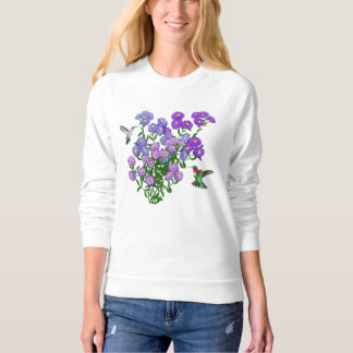 Hummingbirds on Aster Flowers Ladies Raglan Sweats Sweatshirt