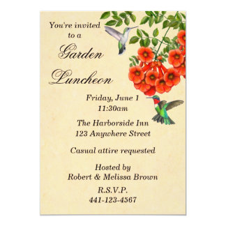 Hummingbirds on Trumpet Vine Custom Invitation