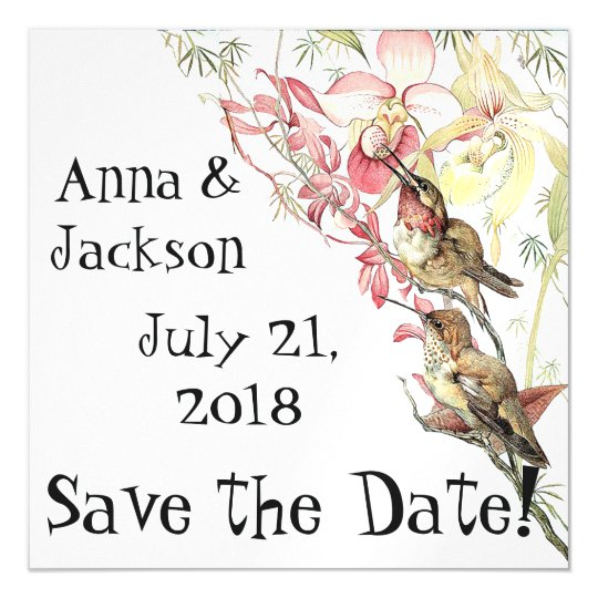Hummingbirds Orchids Save Date Magnetic Card Magnetic Invitations