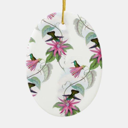 Hummingbirds pattern ceramic ornament
