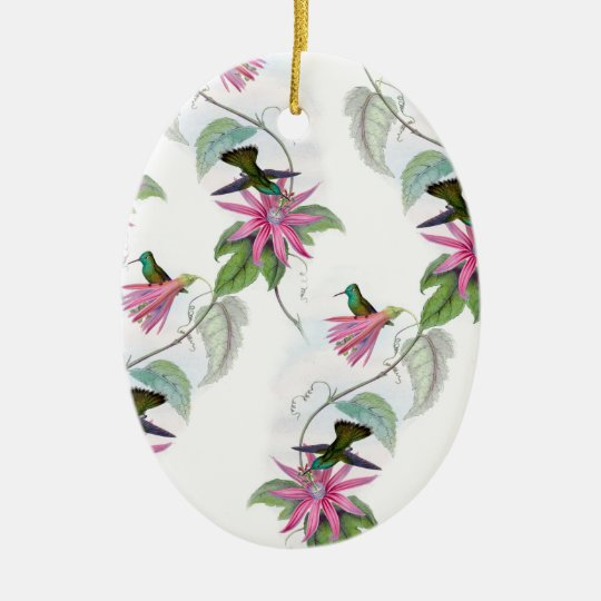 Hummingbirds pattern ceramic oval ornament