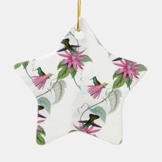 Hummingbirds pattern ceramic star ornament