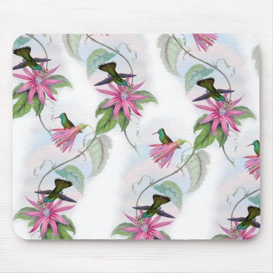 Hummingbirds pattern mouse pad