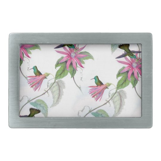 Hummingbirds pattern rectangular belt buckle
