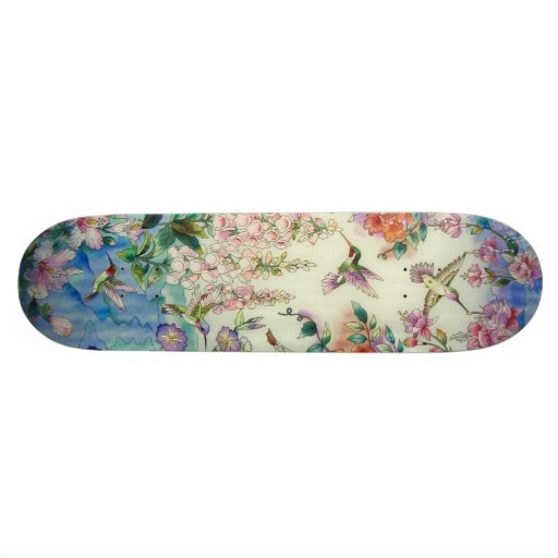 Hummingbirds Pink Flowers Skateboard Awesome