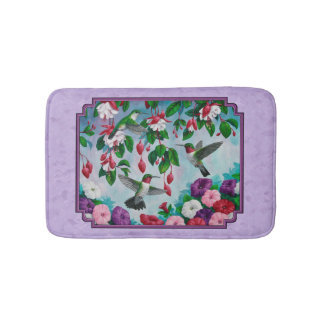 Hummingbirds Pink Fuchsia Flowers Lavender Bath Mat