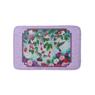 Hummingbirds Pink Fuchsia Flowers Lavender Bathroom Mat