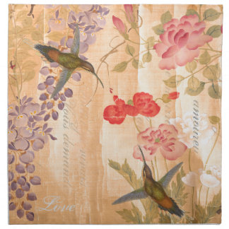 Hummingbirds Rose Wisteria Flower Floral Napkin