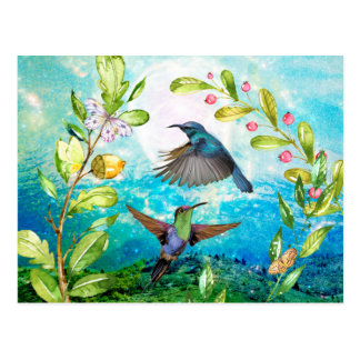 Hummingbirds Scenic Watercolor Nature Art Floral Postcard