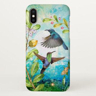 Hummingbirds Sunrise Floral Garden Watercolor Art iPhone X Case