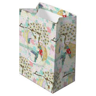 Hummingbirds Teacups Floral Spring Garden Medium Gift Bag