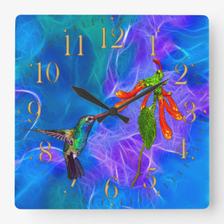 HummingBirds Wildlife Birdlover Gift Square Wall Clock